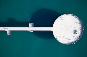 The Venice Pier, looking like a UFO