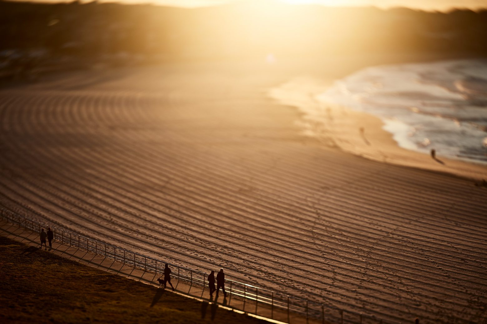 Morning walkers and some crazy sand lines