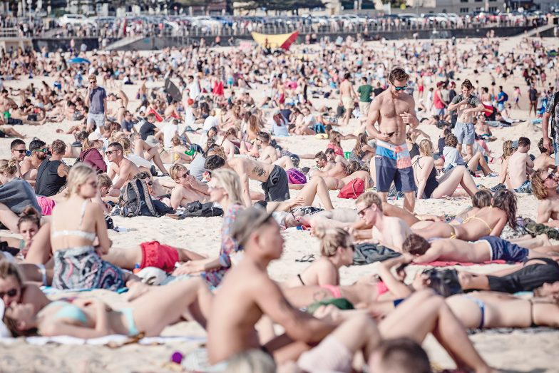 Bondi Beach on the weekend, standing room only!