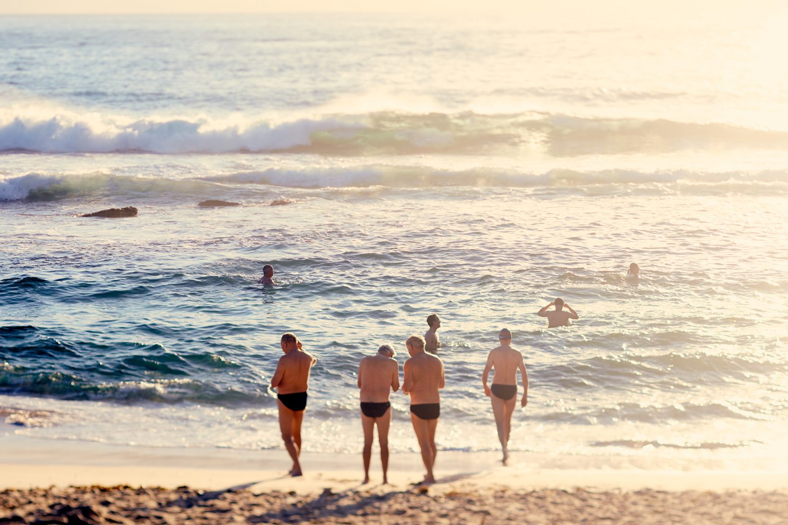 The old boiz going for a swim at the Bogey hole, Bronte