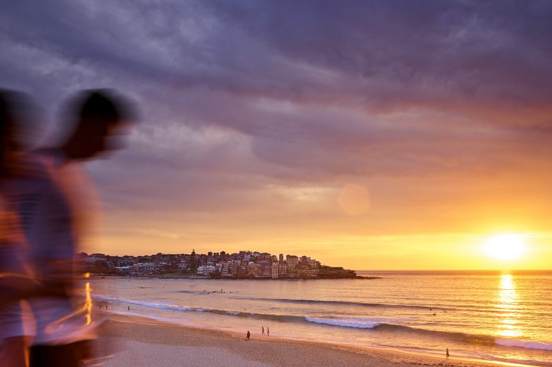 Bondi Beach 6am, coloured skies
