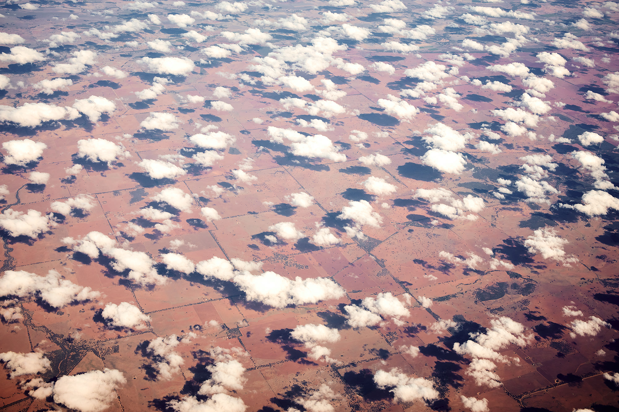 On the way over crossing Australia
