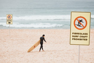 "Pretty aggressive new ""No Surfboards"" signs"