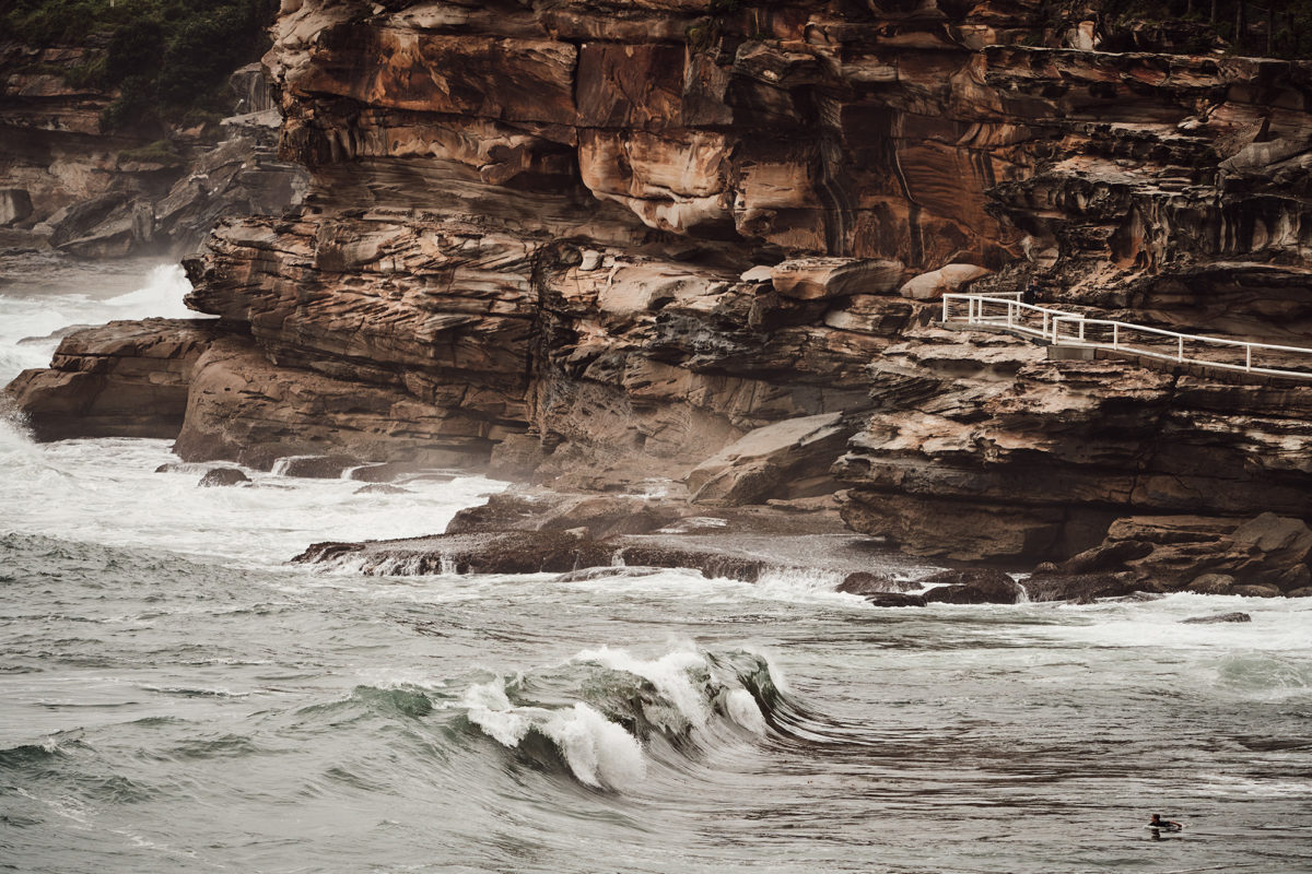 Bronte reef, at the base of the cliffs