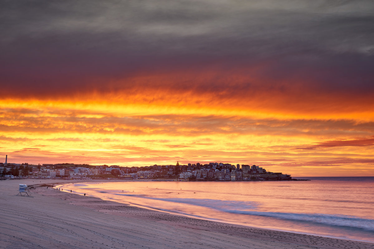An explosion of colour hovering over North Bondi this morning