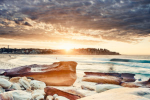 South Bondi's red rocks showing recent erosion