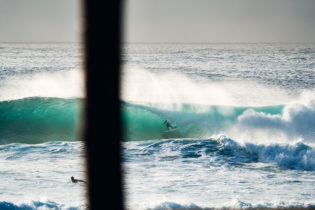 Out there! Blake Thornton on his 12th solid tube for the morning