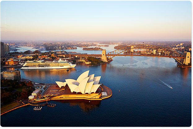 Shot this yesterday from the heli...Celebrity Solstice docking at Circular Quay