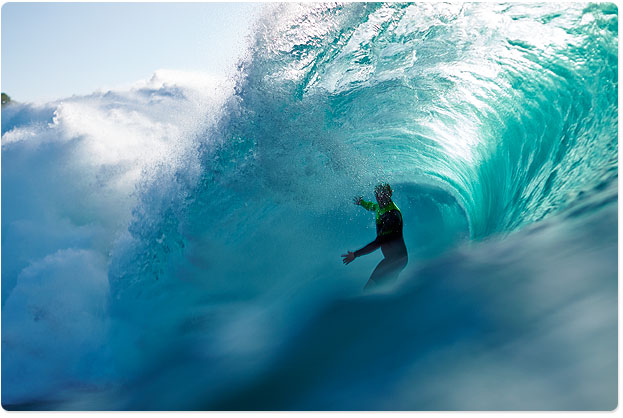 Jamie O'Brien, wrapped tight in water at Pipeline