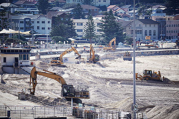 Looks more like a construction site than a city beach